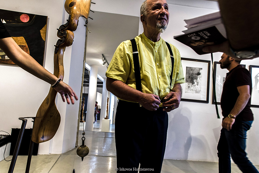 Baki Bogac, Turkish Cypriot, Sculptor and Architect, 66 year old. He saved the works of Andy in the official opening of the exhibition 'Risky travels' of Andys Hadjiadamos and Baci Bogac in Pafos on 5 May, 2017 for the Pafos 2017.